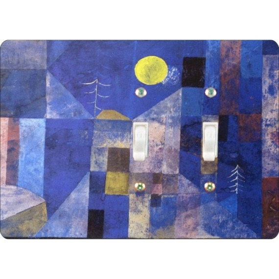 Paul Klee Moonlight Painting Double Toggle Light Switch Plate Cover
