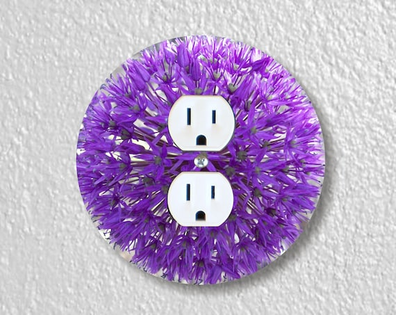 Purple Allium Flower Precision Laser Cut Duplex and Grounded Outlet Round Wall Plate Covers