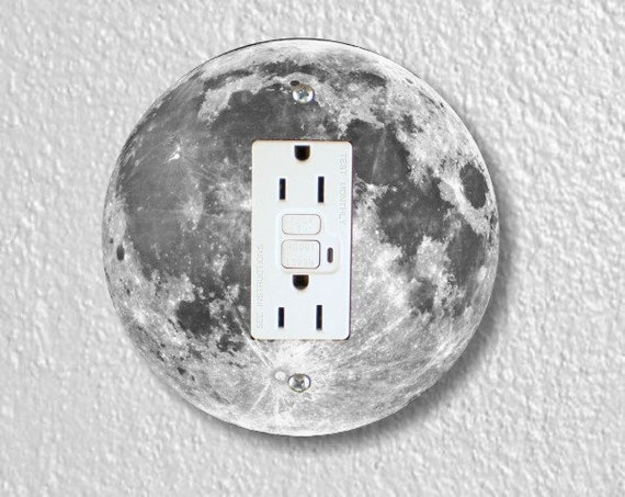 Moon from Space Round GFI Grounded Outlet Plate Cover