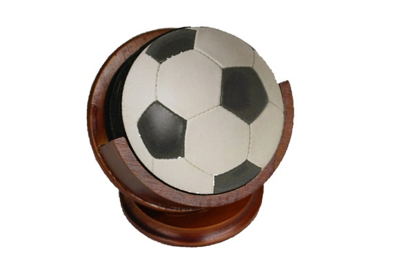 Soccer Sports Ball Coaster Set of 8 Neoprene Backed with Cherry Colored Pedestal Wood Holder