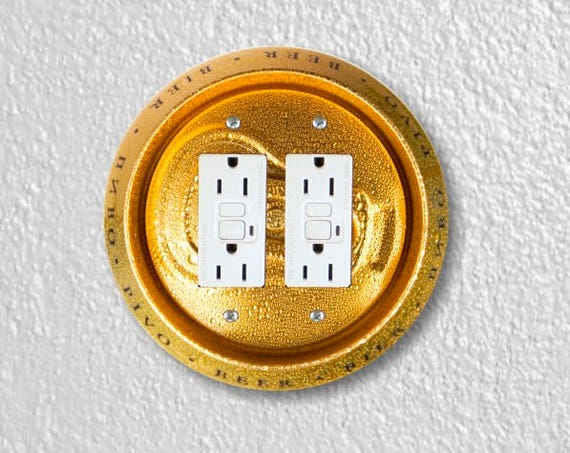 Beer Can Round Double Grounded GFI Outlet Plate Cover