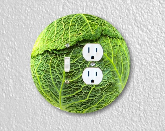 Cabbage - Precision Laser Cut Round Toggle Switch and Duplex Outlet Double Plate Cover - Home Decor - Wall Plate