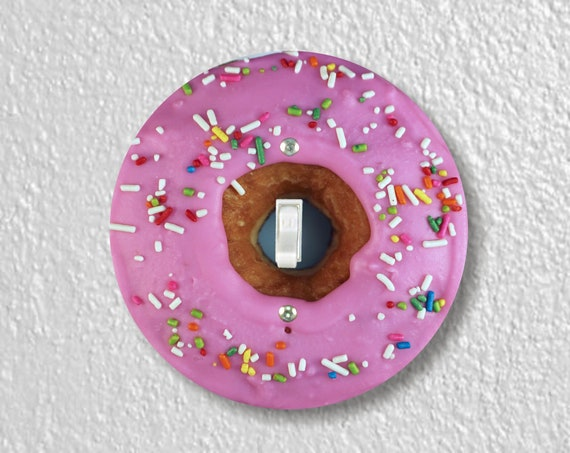 Pink Doughnut Precision Laser Cut Toggle and Decora Rocker Round Light Switch Wall Plate Covers