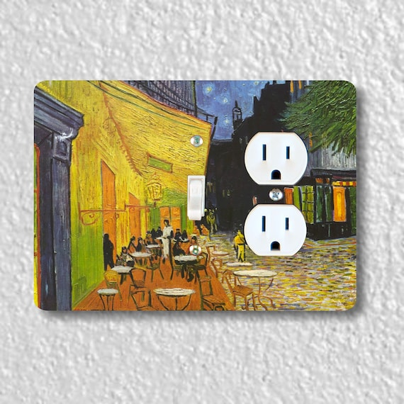 Precision Laser Cut Toggle Switch and Duplex Outlet Double Plate Cover - Café Terrace at Night Van Gogh Painting - Home Decor - Wallplates
