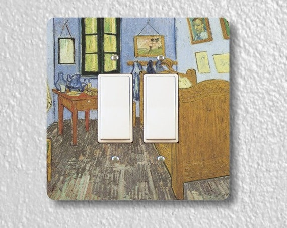 Vincent Van Gogh The Bedroom Painting Square Double Decora Rocker Light Switch Plate Cover