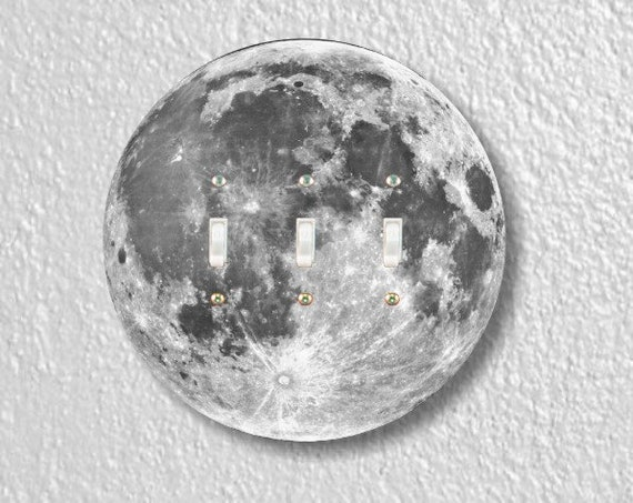 Moon from Space Round Triple Toggle Light Switch Plate Cover