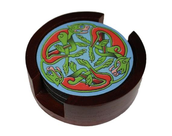 Celtic Dragon Round Coaster Set of 5 with Wood Holder