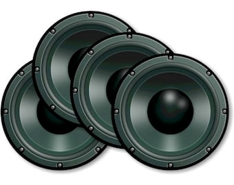 Black Music Loudspeaker Round Coasters - Set of 4