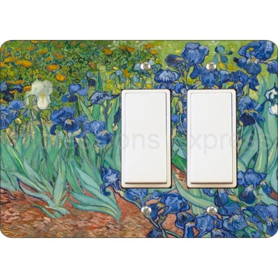 Van Gogh Irises Painting Double Decora Rocker Light Switch Plate Cover