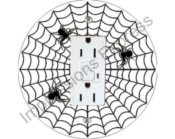 Spider Web Grounded GFI Outlet Plate Cover