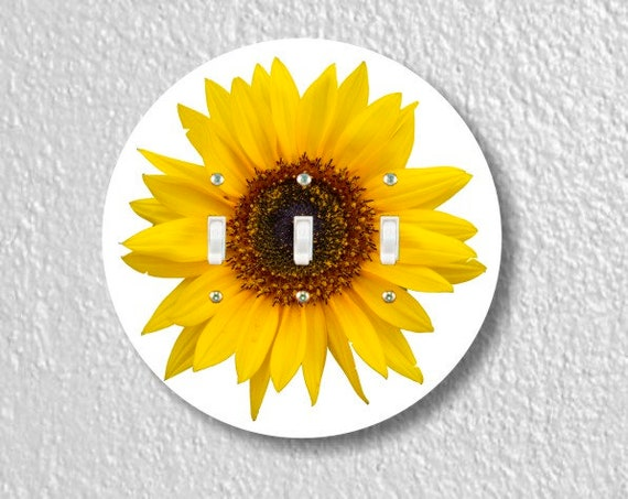 Sunflower Flower Round Triple Toggle Light Switch Plate Cover