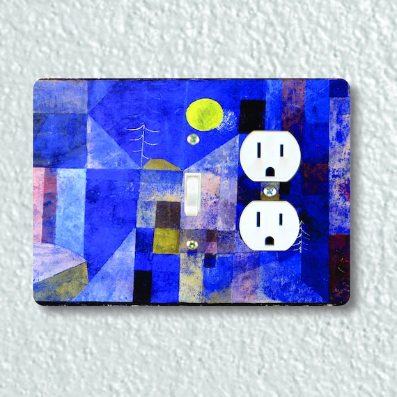 Precision Laser Cut Toggle Switch and Duplex Outlet Double Plate Cover - Paul Klee Moonlight Painting - Home Decor, Wallplate