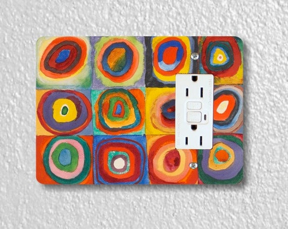 Kandinsky Squares With Concentric Circles Painting GFI Grounded Outlet Plate Cover