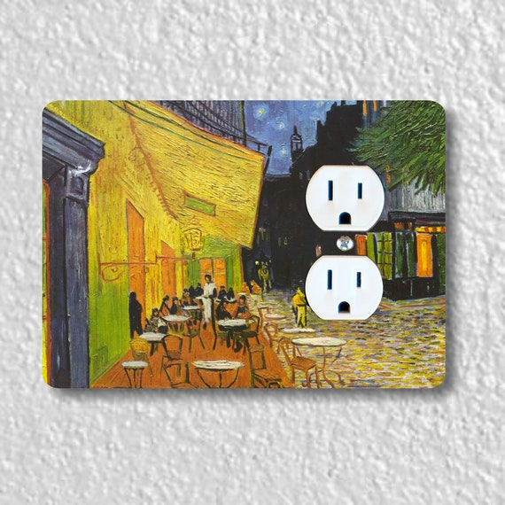 Café Terrace at Night Van Gogh Painting Precision Laser Cut Duplex and Grounded Outlet Wall Plate Covers