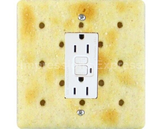 Saltine Cracker Square GFI Outlet Plate Cover