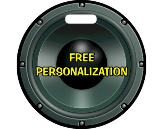 Black Music Loudspeaker Personalized Round Luggage Bag Tag