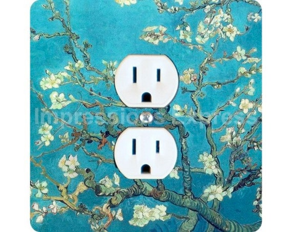 Vincent Van Gogh Almond Branches Painting Square Duplex Outlet Plate Cover