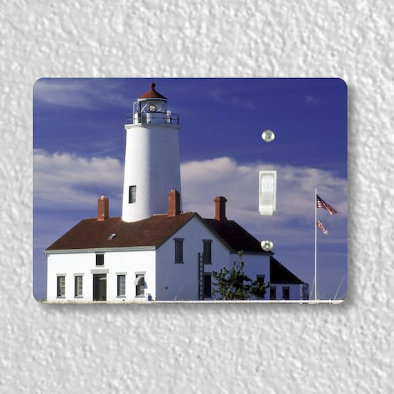 Precision Laser Cut Toggle And Decora Rocker Light Switch Plate Covers - Lighthouse Nautical - Home Decor - Wallplates