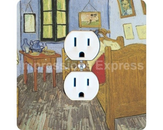 Vincent Van Gogh The Bedroom Painting Square Duplex Outlet Plate Cover