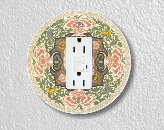 Chinese Ornament Round Grounded GFI Outlet Plate Cover