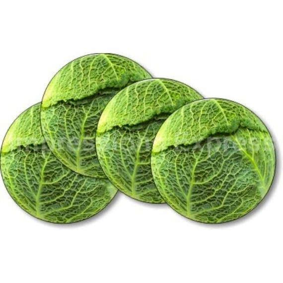 Cabbage Round Coasters - Set of 4