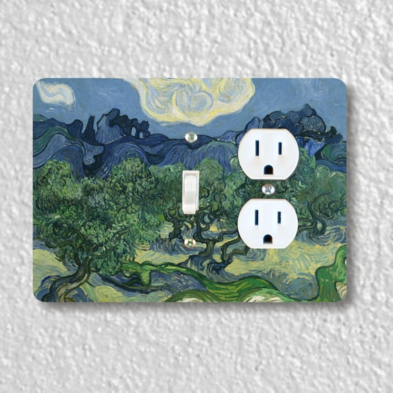Precision Laser Cut Toggle Light Switch and Duplex Outlet Double Plate Cover - Olive Trees Van Gogh Painting - Home Decor - wallplate