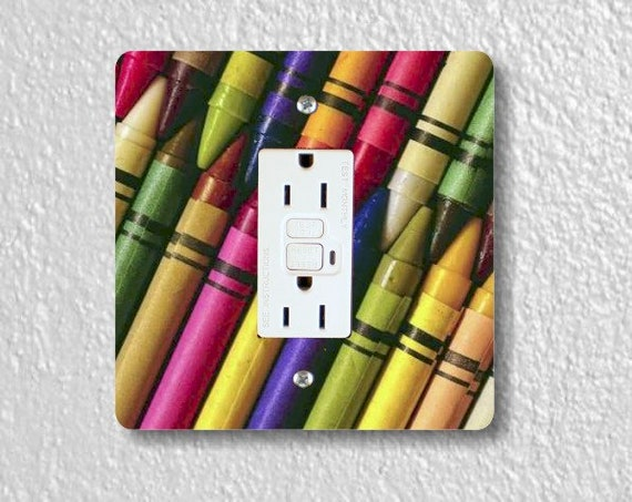 Colored Crayons Square Grounded GFI Outlet Plate Cover