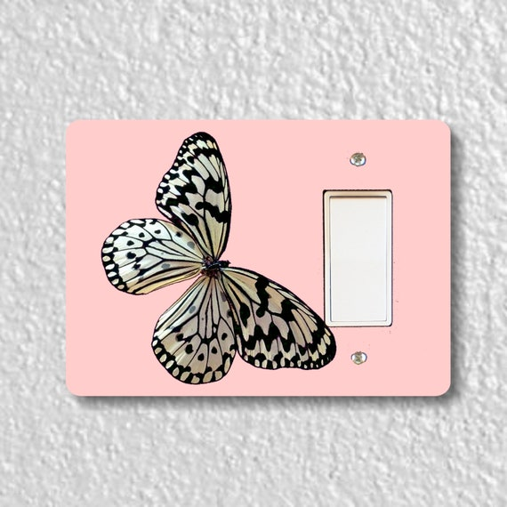 White Nymph Butterfly Pink Decora Rocker Light Switch Plate Cover