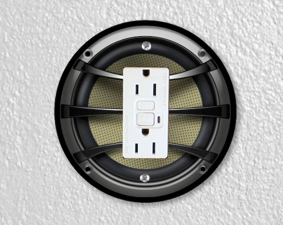 Audio Music Speaker Round Grounded GFI Outlet Plate Cover
