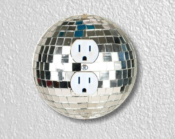 Disco Ball Precision Laser Cut Duplex and Grounded Outlet Round Wall Plate Covers