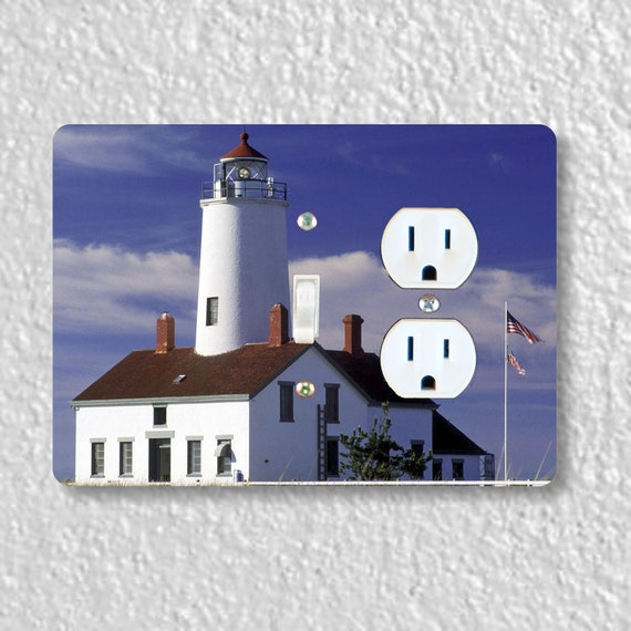 Precision Laser Cut Toggle Switch and Duplex Outlet Double Plate Cover - Lighthouse Nautical - Home Decor - Wall Decor - Wallplates