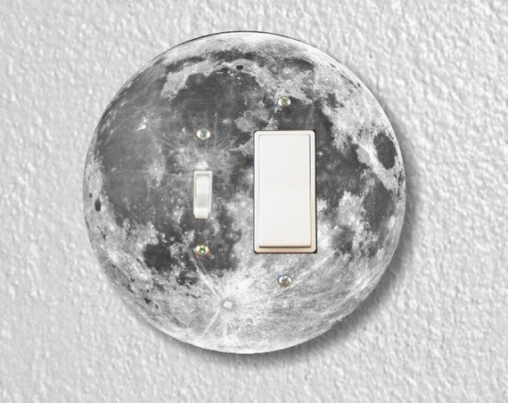 Moon from Space Toggle and Decora Rocker Round Light Switch Plate Cover