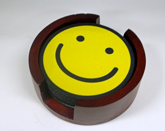 Smiley Face Coaster Set of 5 with Wood Holder