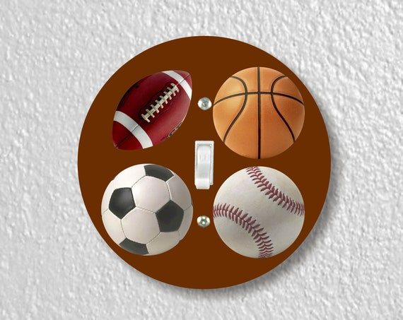 Sport Ball Precision Laser Cut Toggle and Decora Rocker Round Light Switch Wall Plate Covers