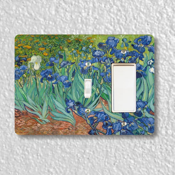 Van Gogh Irises Painting Precision Laser Cut Toggle and Decora Rocker Double Light Switch Wall Plate Cover