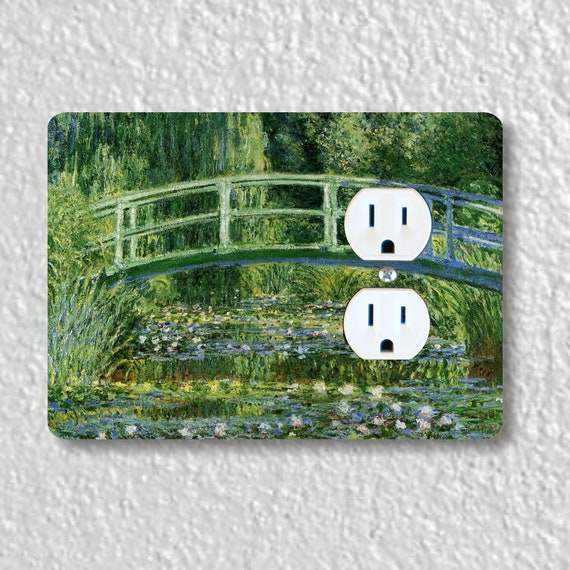 Precision Laser Cut Duplex And Grounded Outlet Plate Covers - Water Lilies And Japanese Bridge Monet - Home Decor - Wall Decor - Wallplates