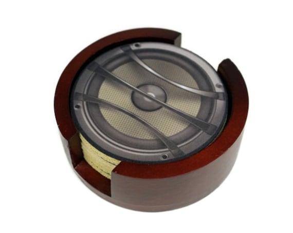 Audio Music Speaker Round Coaster Set of 5 with Wood Holder