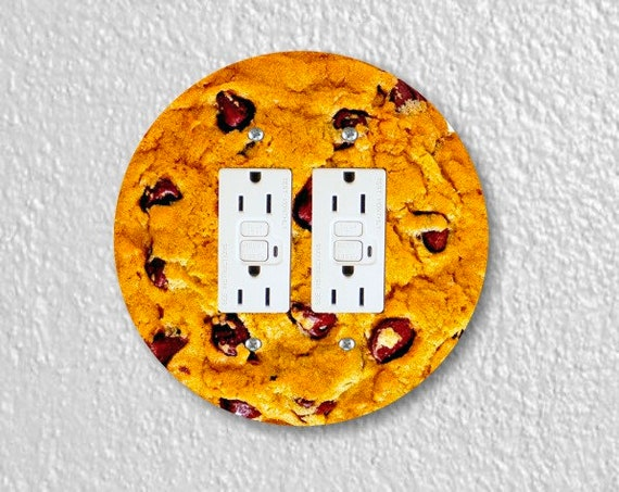 Chocolate Chip Cookie Round Double GFI Grounded Outlet Plate Cover