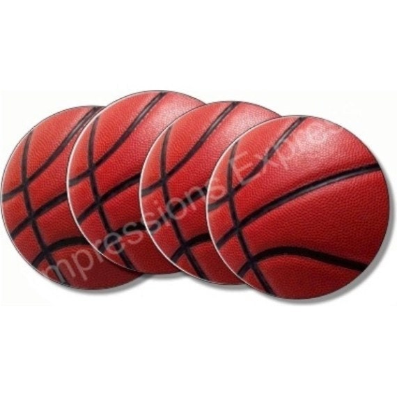 Burgundy Basketball Sport Coasters - Set of 4