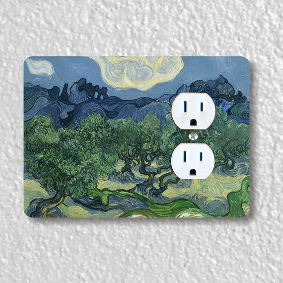Precision Laser Cut Duplex And Grounded Outlet Plate Covers - Olive Trees Van Gogh Painting - Home Decor - Wall Decor - Wallplates