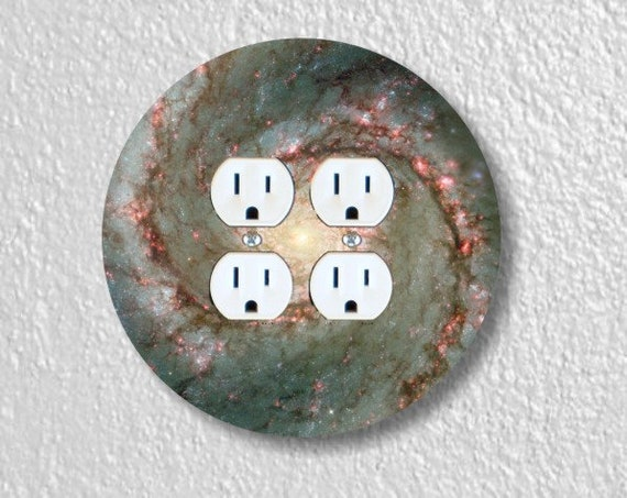 Whirlpool Galaxy Space Round Double Duplex Outlet Plate Cover