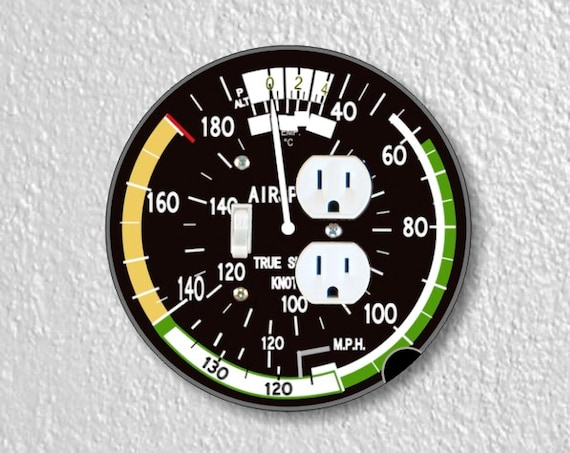 Precision Laser Cut Toggle Switch and Duplex Outlet Round Double Plate Cover - Aviation Airspeed Indicator - Home Decor - Wallplates
