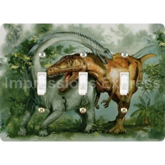 Rebbachisaurus and Giganotosaurus Dinosaur Triple Toggle Light Switch Plate Cover