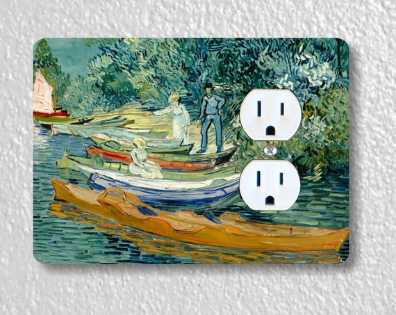 On the banks of the Oise at Auvers Van Gogh Painting Precision Laser Cut Duplex and Grounded Outlet Wall Plate Covers