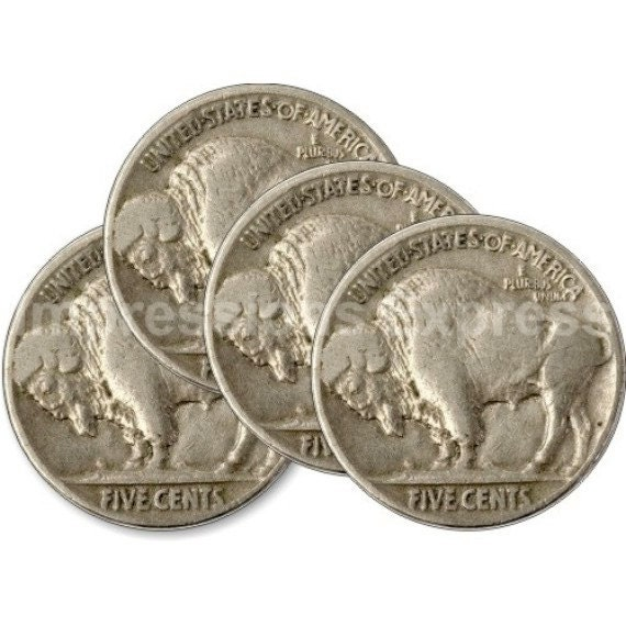 Buffalo Nickel Coin Round Coasters - Set of 4