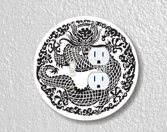 Oriental Dragon Precision Laser Cut Round Toggle Switch and Duplex Outlet Double Wall Plate Cover