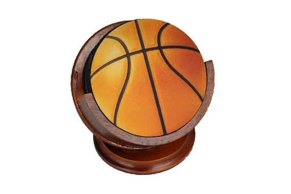 Orange Basketball Coaster Set of 8 Neoprene Backed with Cherry Colored Pedestal Wood Holder