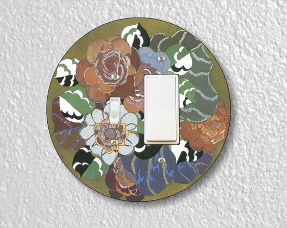 Floral Art Deco Art Nouveau - Precision Laser Cut Round Toggle and Decora Rocker Light Switch Plate Cover - Home Decor - Wall Plate