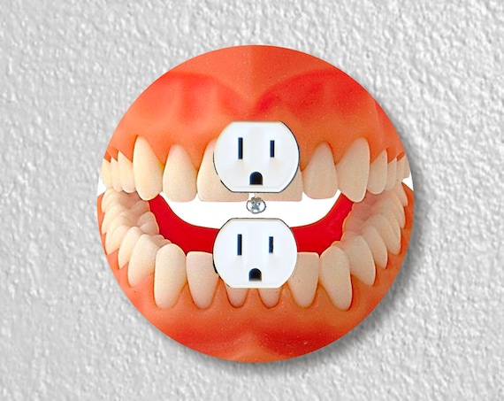 Teeth Precision Laser Cut Duplex and Grounded Outlet Round Wall Plate Covers