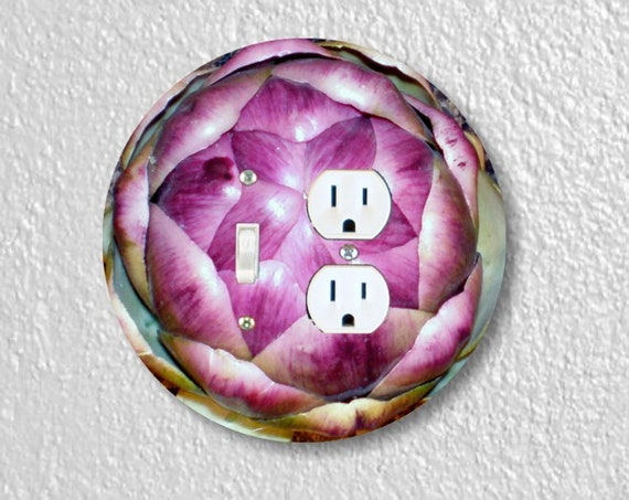Artichoke Precision Laser Cut Toggle Switch and Duplex Outlet Round Double Wall Plate Cover